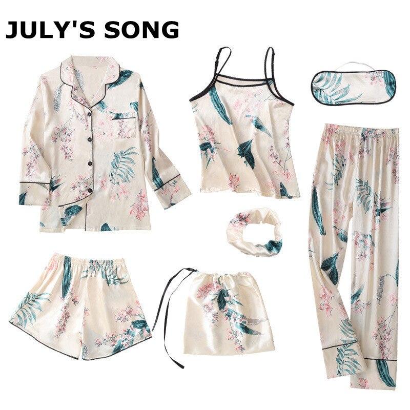 JULY'S SONG 7 Pieces Silk   Pajamas   For Woman Printing Satin Silk   Pajamas     Set   Sexy Spring Summer Autumn Pyjamas Women Home Wear