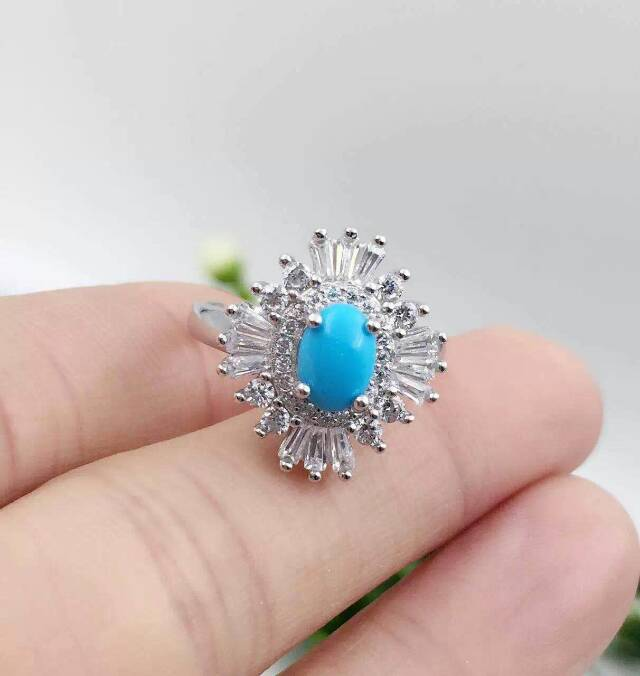Natural green turquoise Ring Natural gemstone Ring 925 sterling silver trendy luxurious big sunflower women's party fine Jewelry trendy fuax turquoise carved rounded rechtangle ring