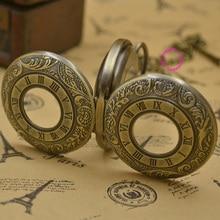 wholesale men Mechanical Pocket Watch man fob watches roman steampunk bronze antique vintage retro Stylish hand Wind hour