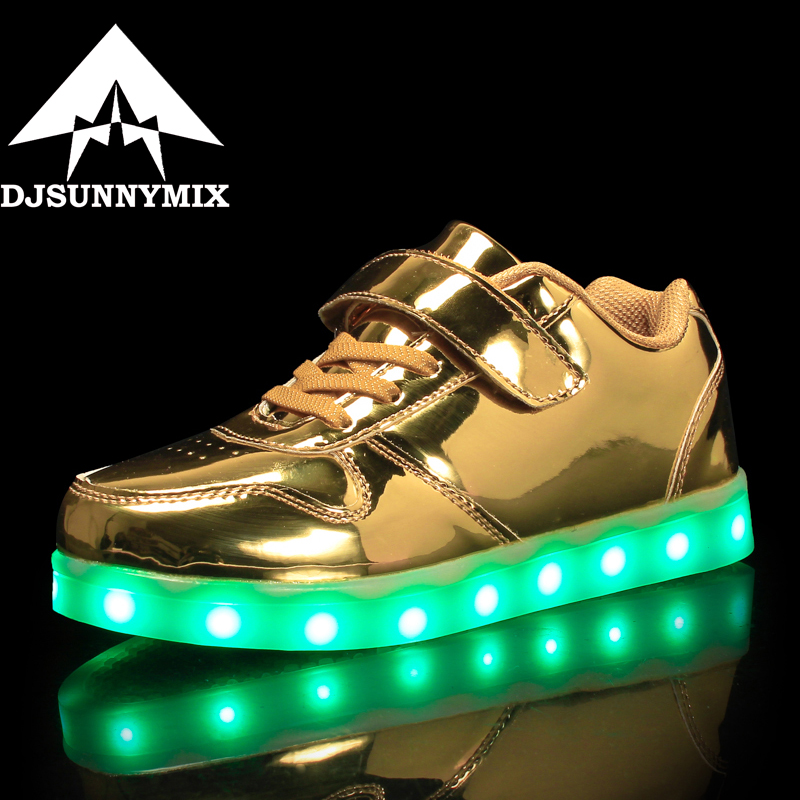 DJSUNNYMIX 2018  Kids Sneakers Fashion USB Charging Lighted Colorful LED lights Children Shoes Casual Flat Girls Boy Shoes gold 25 40 size usb charging basket led children shoes with light up kids casual boys