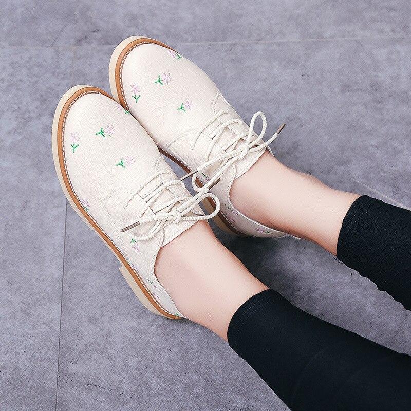 Estudiante Bordado Beige Casual Primavera 2018 negro Zapatos Cruzadas Zapato Redondo De Grueso Nueva Correas Las Coreano Planos Mujeres q7wwdxHIa