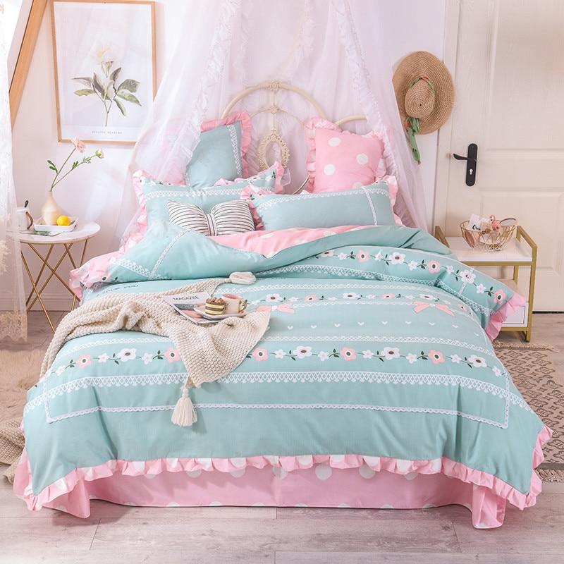 Домашний текстильный кружевной комплект постельного белья принцессы из 4 предметов, пододеяльник/пододеяльник, наволочка, плоская простын