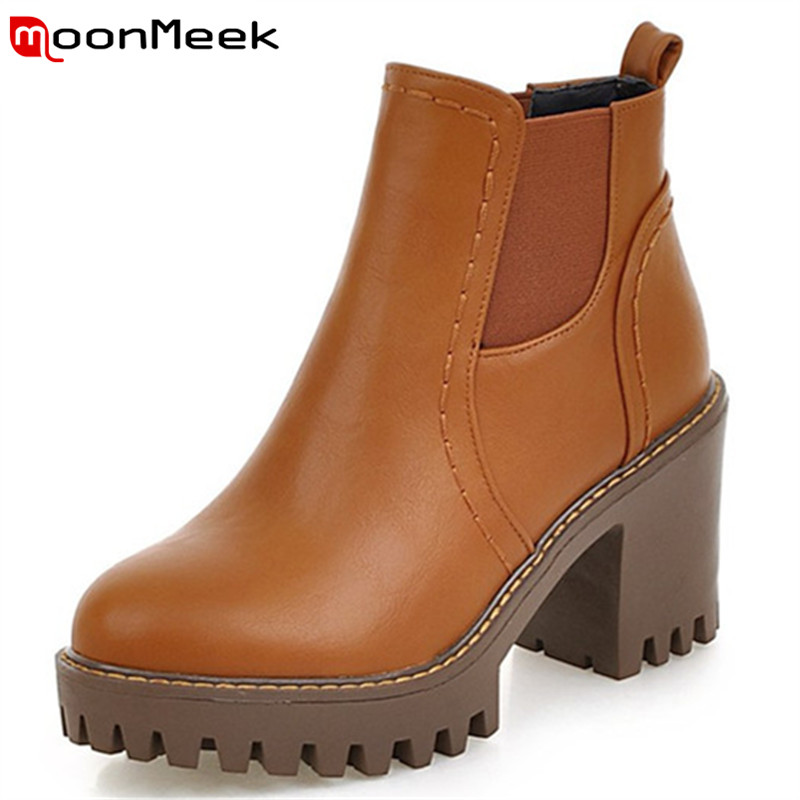 MoonMeek Big size 34-43 spring autumn boots fashion shoes PU soft leather ankle boots for women high heels shoes woman hot sale big size 32 44 fashion spring autumn women shoes sexy solid pu leather platform ankle strap high heels augz 958