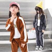 חליפת ילד ילדה חליפת שרוול ארוך בגד של ילדים קוריאנים חדשים בסתיו שמש למטה עיבוי ילד שתי חתיכות
