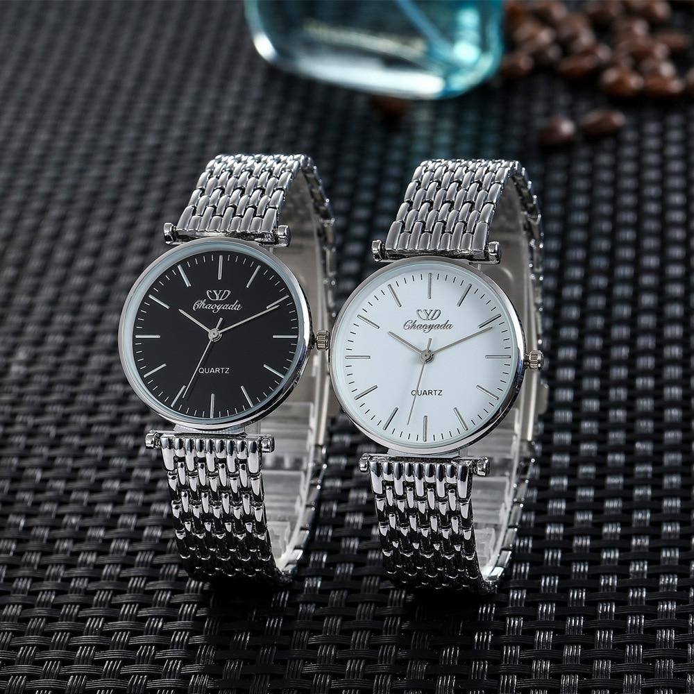 Fashion Sliver Couple Watches Quartz Business Wristwatch Bracelet Women Men Unisex Clock Office Watches Gift Reloj Mujer Hombre