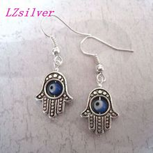 20pair *GOOD LUCK EVIL EYE HAMSA HAND* Blue Revolving Eye SP Earrings Kabbalah 35MM LK676