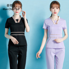 SPA Uniform Womens V-Neck Tops+Pants Sets High Quality Coffee Beauty Clothing Thai Massage Workwear