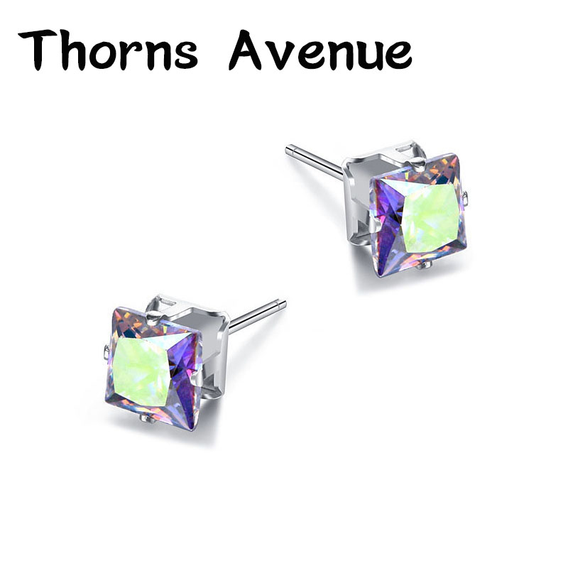 Thorns Avenue Fashion 6mm 1 Pair 12 Colors Square Shape AAA Cubic Zirconia Stainless Steel Stud