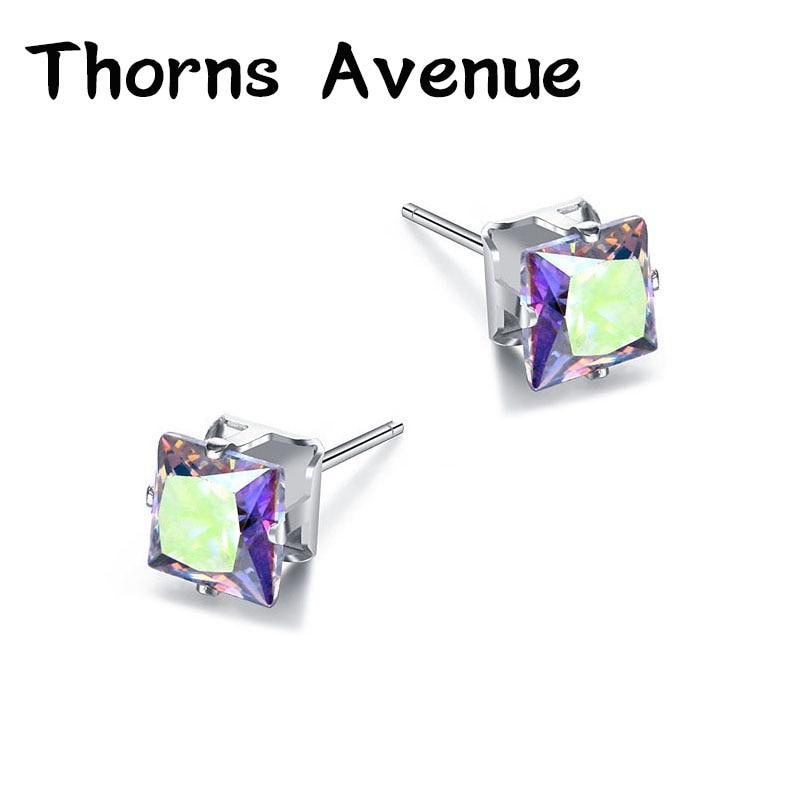 Thorns Avenue Fashion 6mm 2PCS Lot 12 Colors Square Shape AAA Cubic Zirconia Bridal Stud Earrings