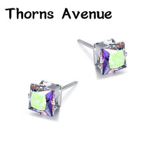 Thorns Avenue Fashion 6mm 2PCS/Lot 12 Colors Square Shape AAA Cubic Zirconia Bridal Stud Earrings Women Jewelry For Party