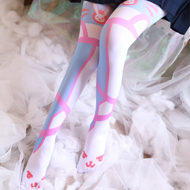 077646c34 Japanese OW DVA D.va Women Long Socks Tight kawaii Lolita Girls Cosplay  Warm Pantyhose Silk Stockings New Leggings Tights