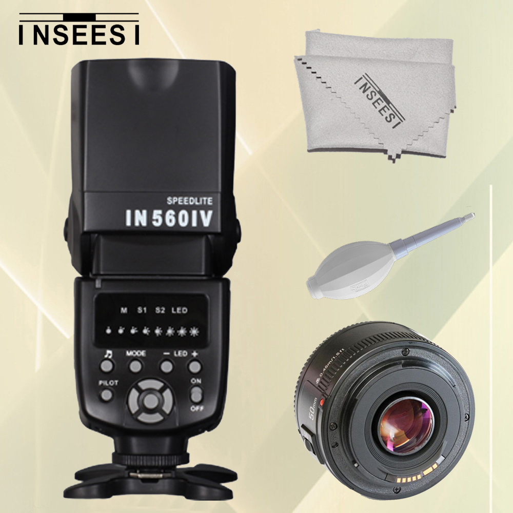 INSEESI Universal Wireless IN560IV Flash Speedlite Light & Yongnuo YN50mmF1.8 Aperture Auto Focus Lens For Canon DSLR Camera lloyd nevio