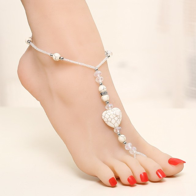 dc5f3f2283473 Sweet Summer Foot Jewelry White Beads Simple Heart Shape Beach Feet Chain Barefoot  Sandal Anklet Ladys Bracelet White Color