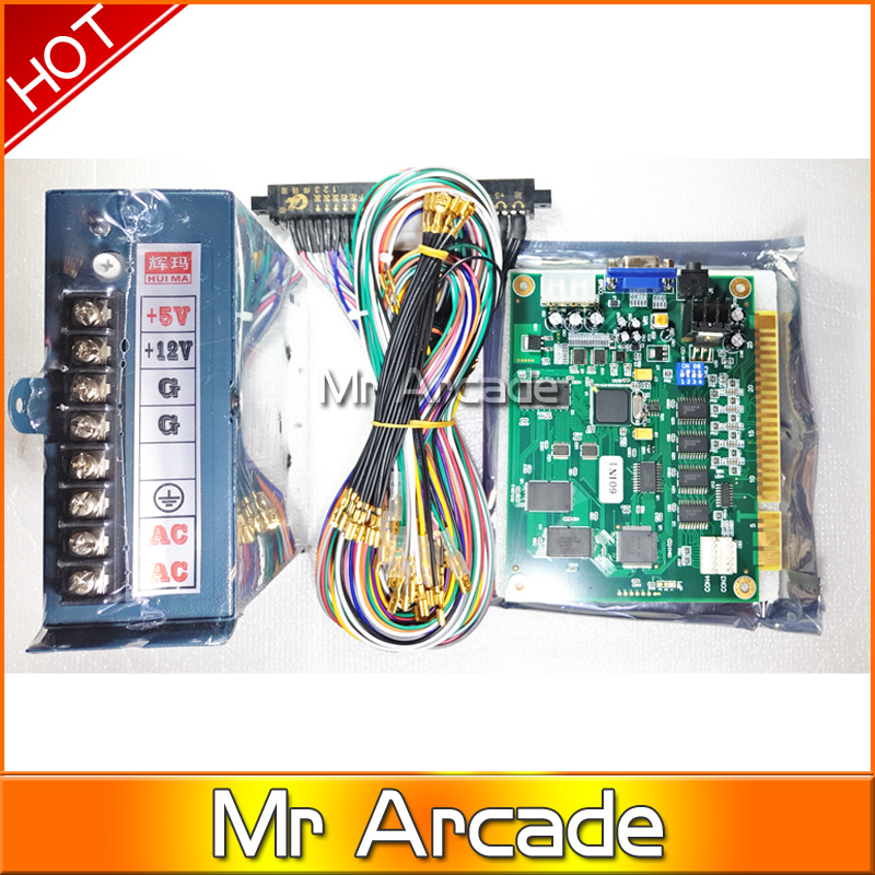 DIY arcade game kit  jamma game pcb 60 in 1+28pin Wire harness+POWER SUPPLY  for CRT /LCD 60 in 1 arcade video game machine sanwa button and joystick use in video game console with multi games 520 in 1