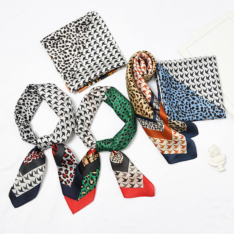 2019 women silk   scarf   yellow leopard Color block print square   scarves   shawls   wraps   fashion office hair   scarf   neck chiffon hijab