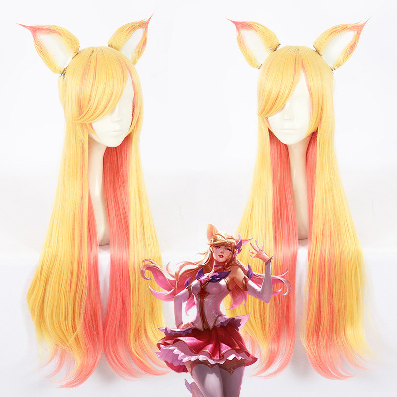 Game LOL WOMEN ROLE PLAY   Star Guardian Ahri Cosplay Wig Yellow orange long hair wig with 2 ears