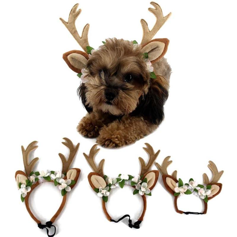 Christmas Dog&Cap Cat Accessories Antlers Headband Christmas Corner Decoration Headband Christmas Pet Supplies S/M/L A30