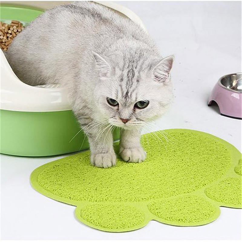 Paw Print Cat Litter Mat Box Toilet Pad Puppy Kitty Dish Dinner Feeding Bowl  Dog Sleeping Placemat Tray Tidy Easy Cleaning mata bor amplas