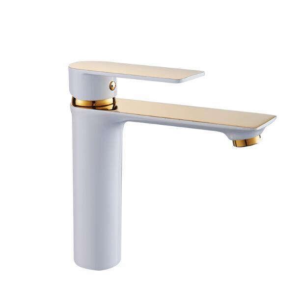 Смеситель для ванной комнаты, латунь, белый и золотой, однорычажный, горячий и холодный кран для раковины, кран для раковины