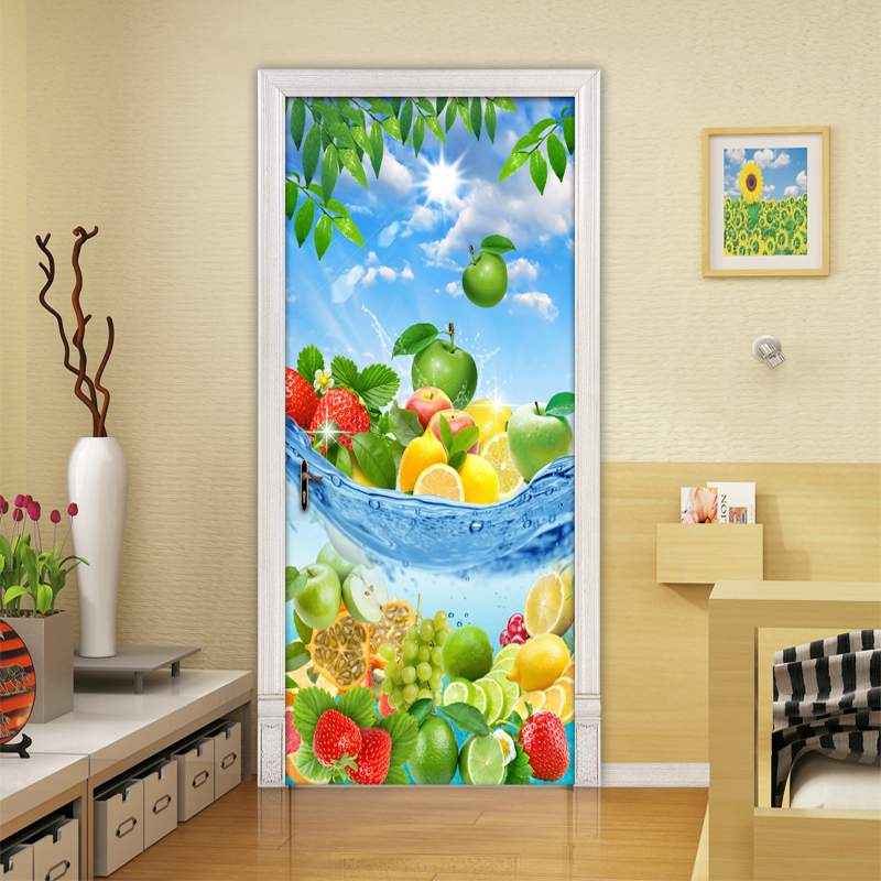 Modern Simple Fresh Fruit 3D Living Room Kitchen Bedroom Door Sticker Mural PVC Self-adhesive Photo Mural Wallpaper Home Decor sea view new diy door mural wallpaper sticker modern simple bedroom living room door 3d poster murals pvc waterproof home decor