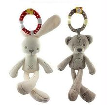Infant Baby Rattle Cute Rabbit Stroller Wind Chimes Hanging Bell Musical Mobile Baby Toy Doll Soft Bear Bed Appease Rattles Toys