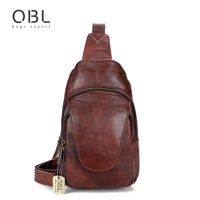 9236155e45aa QiBoLu 2018 Genuine Leather Sling Bag Men Single Shoulder Bag Men Chest  Pack Messenger Crossbody Bag for Man Sacoche Homme MBA86