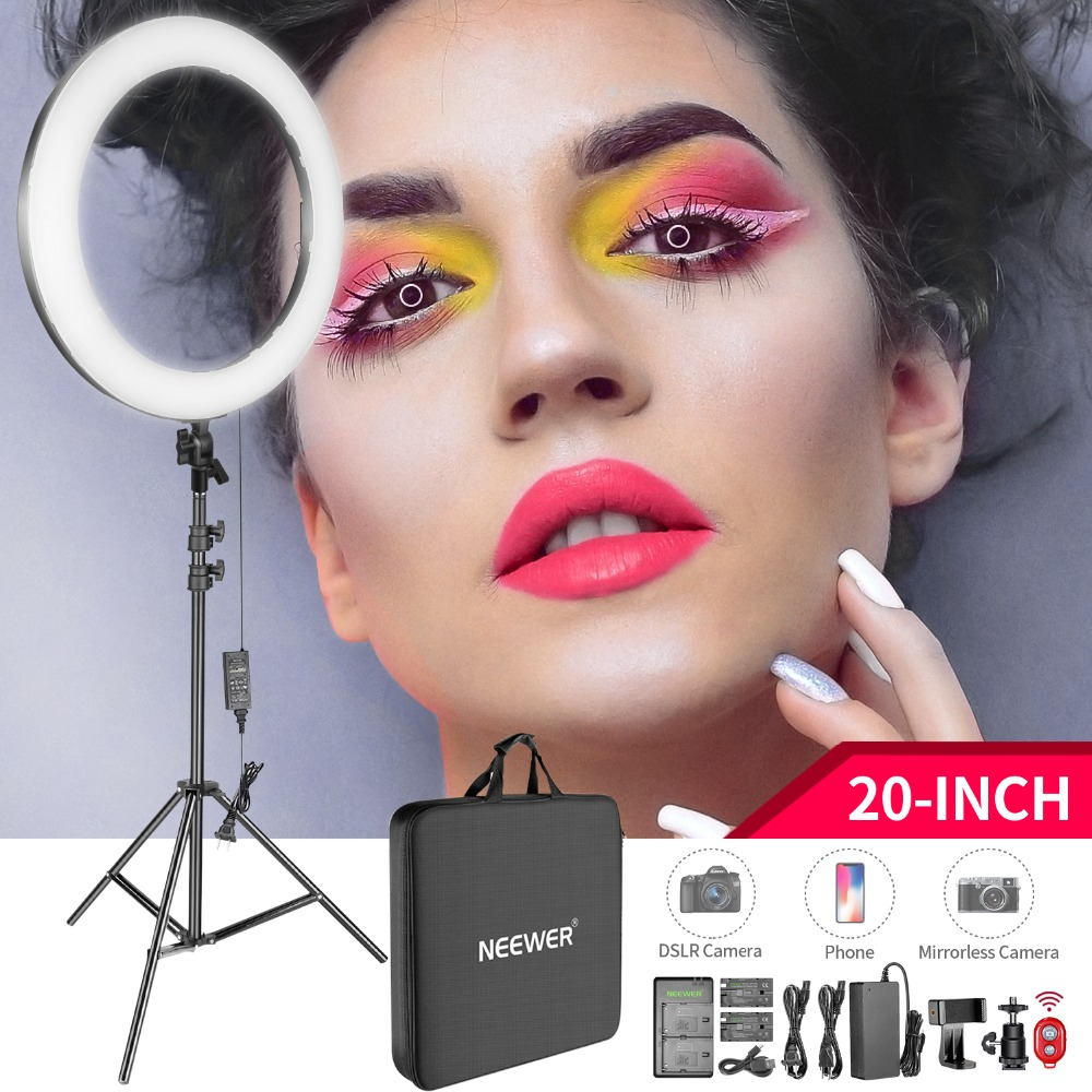 Neewer 20-inch LED Ring Light Kit: (1)44W Dimmable Circle Light(1)2M Pro Light Stand(1)Ball Head(1)Phone Holder(2)Li-ion BatteryNeewer 20-inch LED Ring Light Kit: (1)44W Dimmable Circle Light(1)2M Pro Light Stand(1)Ball Head(1)Phone Holder(2)Li-ion Battery
