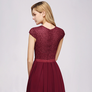 Image 3 - Charming Burgundy Lace Chiffon Long Evening Dress 2019 Elegant Short Sleeve Evening Party Dresses Formal Evening Gowns