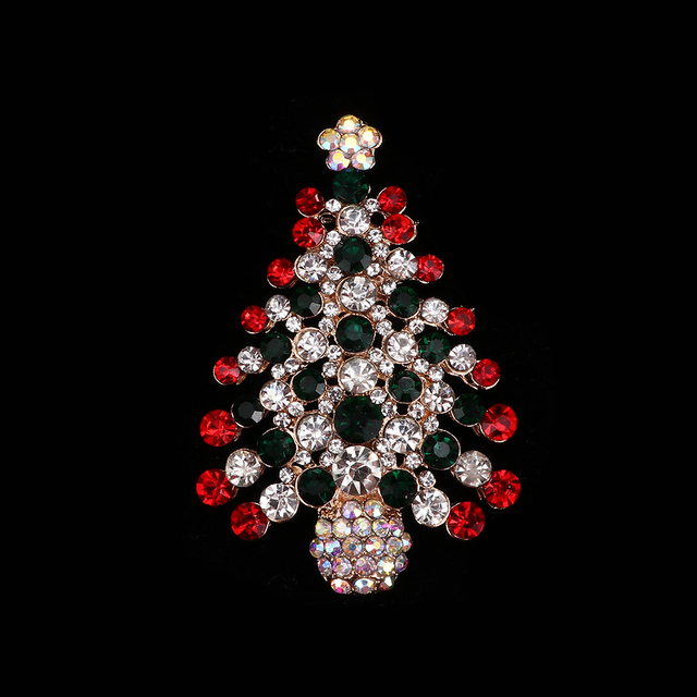 b4b92fced0e 1 pc New Arrival Crystal Rhinestone Alloy Christmas Tree Brooch Pins Party  Jewelry Accessories