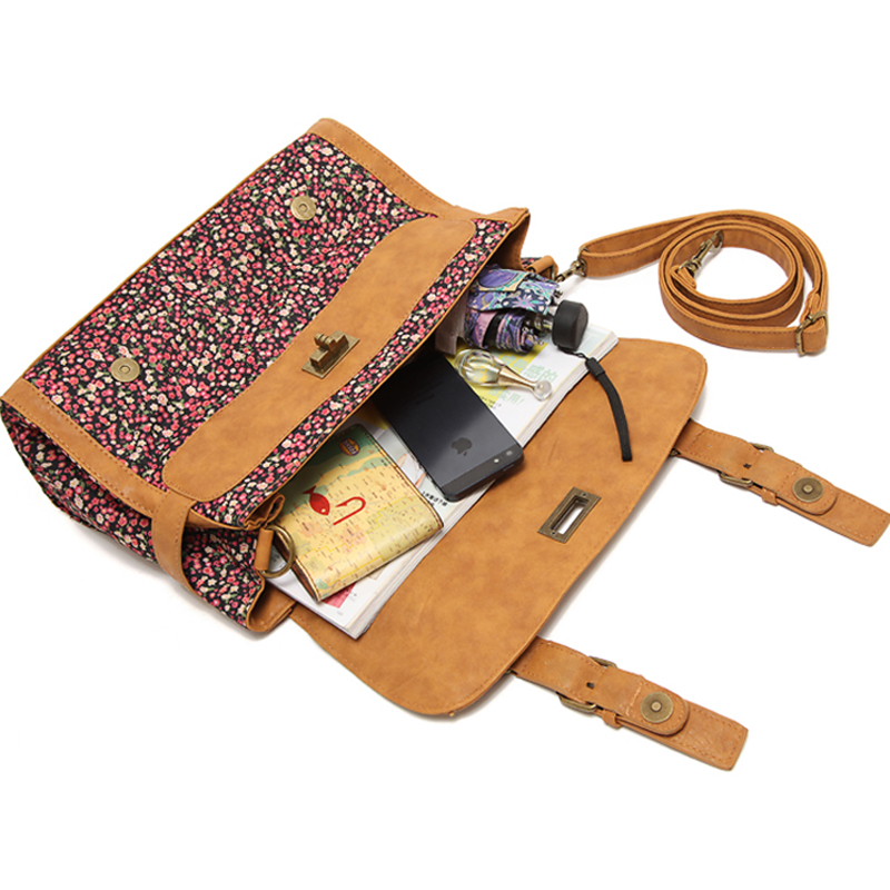 602f2860be Annmouler Brand Women Satchel Bag Canvas Crossbody Bag Floral Printed  Shoulder Bag Small Handbags Cotton Messenger Bags