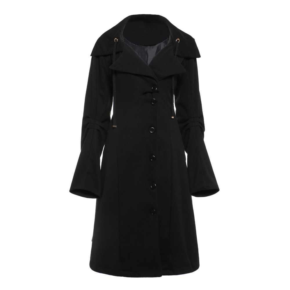 Gothic Vrouwen Trenchcoat 2018 Winter Herfst Vrouwen Overjas Windjack Vrouwelijke Lange Jas Rits Knop Goth Uitloper
