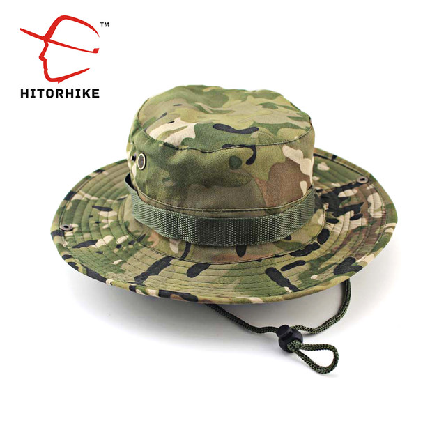 HITORHIKE Men Military Camo Bucket Hat with String Camping Hiking Travel  Sniper Wide Brim Tactical Airsoft Camouflage Boonie Hat-in Fishing Caps  from Sports ... 2ff227ed5dc1