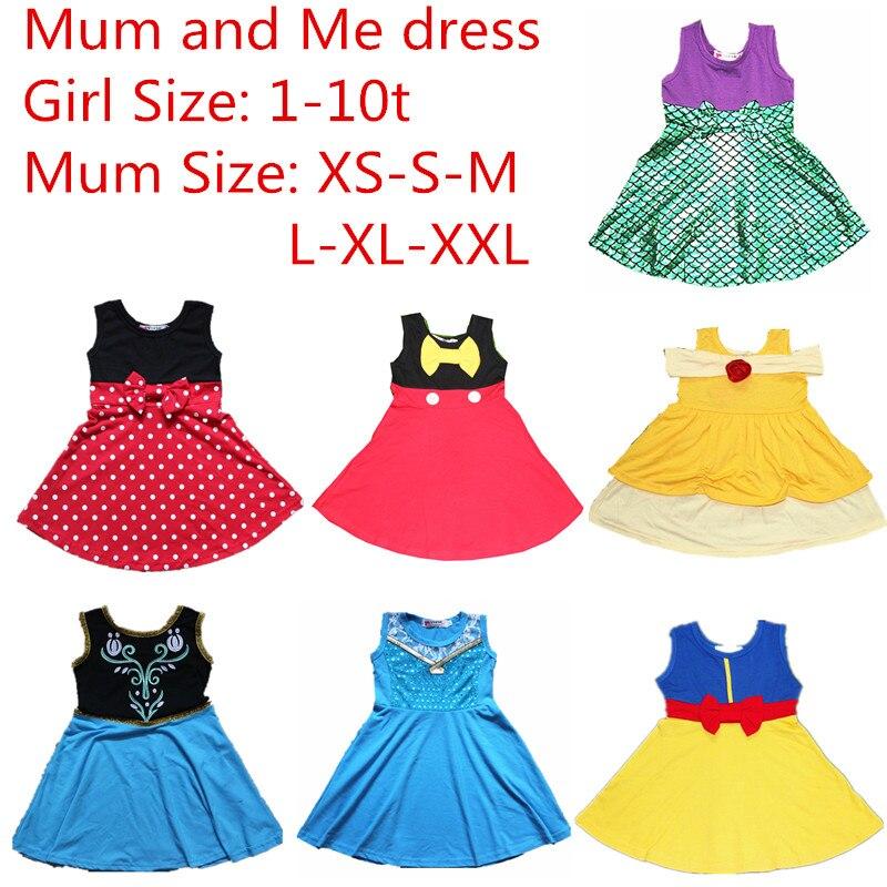 Día de la madre mamá y yo vestido familia Matching princesa Cosplay vestidos Belle sirena Minnie Mickey nieve Partido Blanco verano vestido