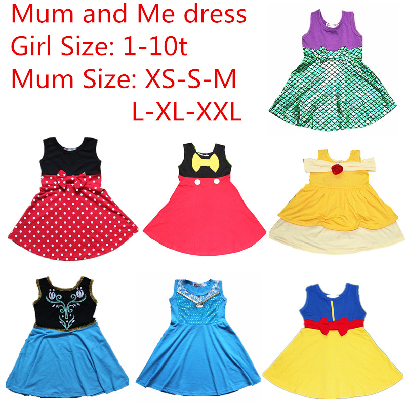 Mum And Me Dress Family Matching Princess Cosply Dresses Up Everyday Wear Belle Mermaid Minnie Mickey Snow White Party Summer Matching Family Outfits