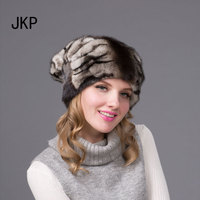JKP 2018 Real Mink fur hat mink hats entire pattern of good quality beanie fashion women striped hat DHY 68