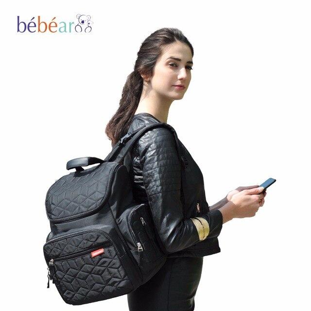 Bebear Многофункциональный сумка для мамы автоматического прицепа сумка на коляску модный сумка для коляски детские сумки рюкзак женский сумки для мам сумка детская детская сумка детская сумочка 4 PCS/SET