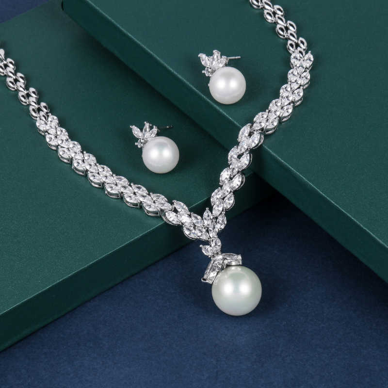 WEIMANJINGDIAN Brand Marquise Cubic Zirconia and Shell Pearl Necklace and Earring Bridal Jewelry Set in Rhodium Silver Color