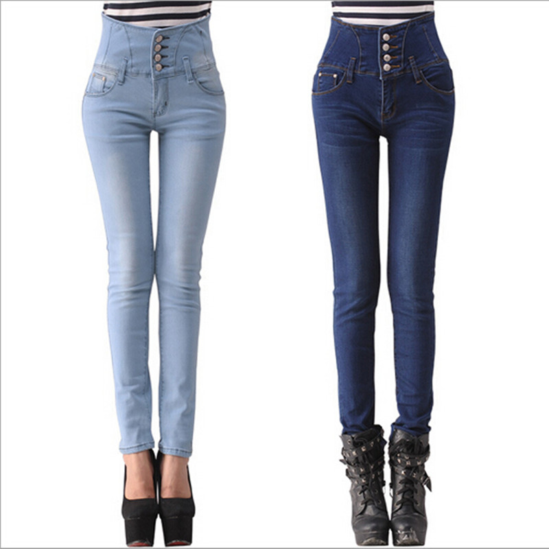 #5252 2016 Fashion Elasticity Womens High Waist Jeans With High Waist Jeans Denim Femme Pants Big Size 26-32 Free Shipping