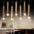 Modern Art OAK LED Wooden Pendant Lights Hanging Wood Lamps Dinning Room Restaurant Retro Fixtures Luminaire