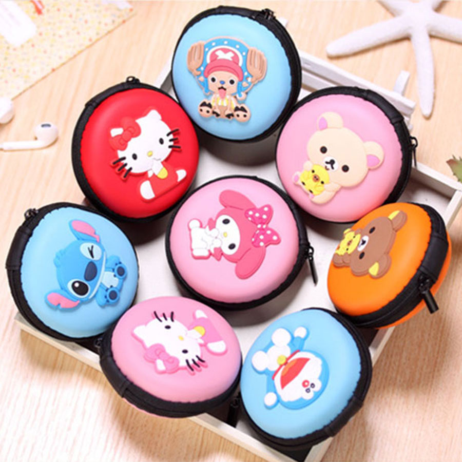 XYDYY Kawaii New Hot Sales Cartoon Animals Mini Coin Purse Princess Girls Key Round Case Wallet Children Headset Bag Coin Packet the new children s cubs hat qiu dong with cartoon animals knitting wool cap and pile