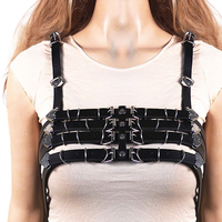 Women Roleplay Faux Leather Adjustable Body Chest Harness Belt with Two Shoulder Pads for Sexy strap Night Halloween Clothes