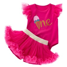 2pcs Set Cute Baby Girl Clothes for 1st Birthday Party Cake Smash Outfit Tulle Skirt Shorts + Flutter Sleeve Romper Baby Outfit