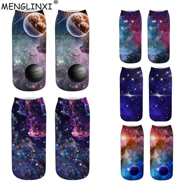 Starry Sky Pattern 3D Socks Brand Women Sock Fashion Girls Socks Meias Female Kawaii Ankle Calcetines Happy Funny Sock