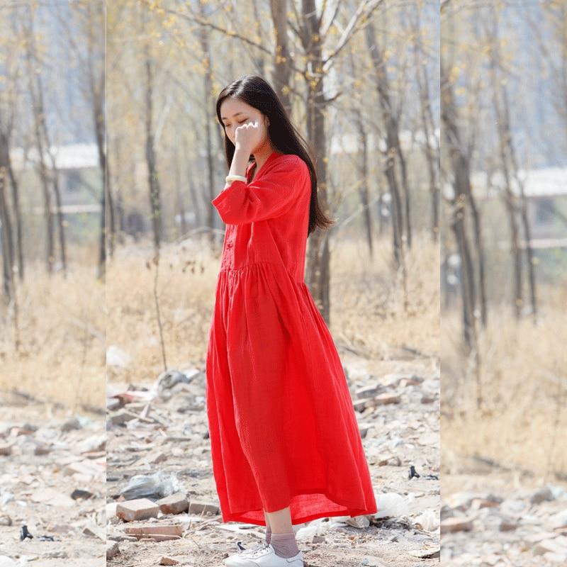 2018 Vert D'été Lâche rouge Style manches Femmes Ramie orange Robe Longue rose Demi Chinois Red Robes Rétro D900 cZrWfcyU