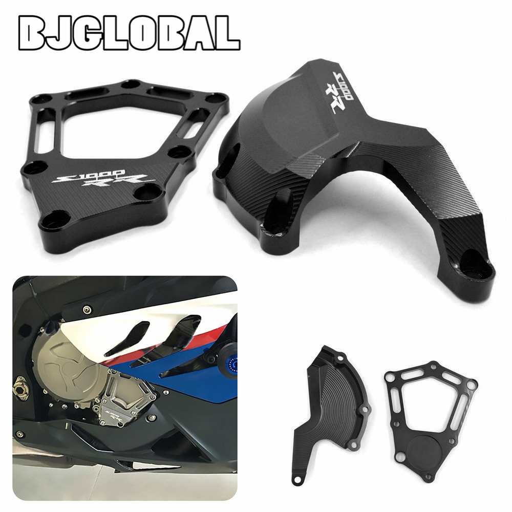 BJGLOBAL CNC Motorcycle Engine Case Guard Cover Frame Protector For BMW S1000RR 2010-2016 HP4 2012-2016 S1000R 2014-2016