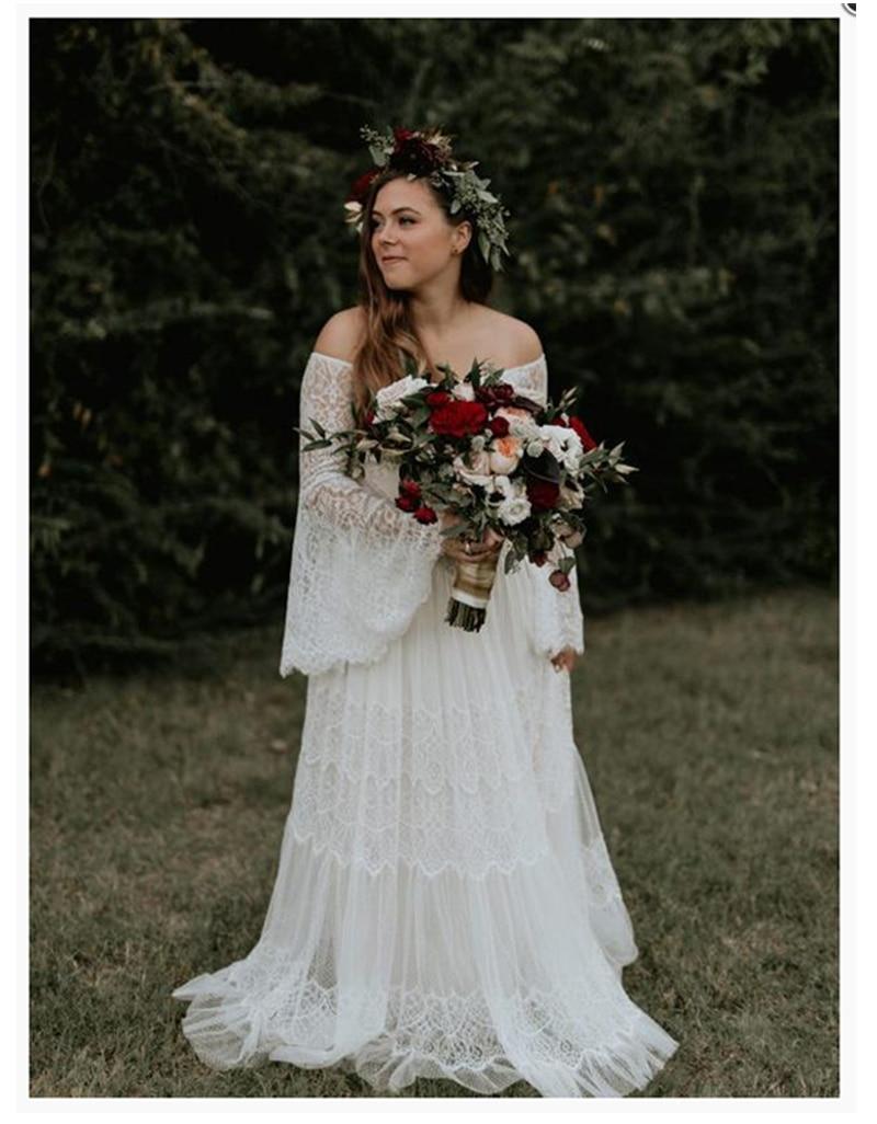 LORIE Boho Wedding Dress Lace A Line Vintage Princess Wedding Gown White Ivory Bride Dress Flare Sleeves Beach Bride Dress 2019