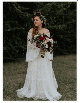 LORIE Boho Wedding Dress Lace A Line Vintage Princess Wedding Gown White Ivory Bride Dress Flare Sleeves Beach Bride Dress 2019
