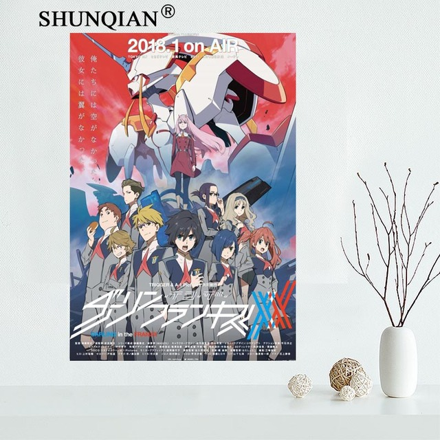 Custom DARLING In The FRANXX Canvas Painting Poster Cloth Fabric Wall Art  Poster No Frame Home