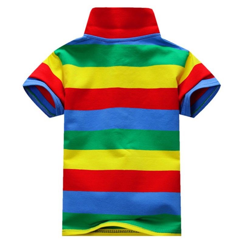 6-Colors-Children-T-Shirt-Baby-Boys-Multi-Color-Short-Sleeve-Striped-Cotton-Tops-Blouse-2