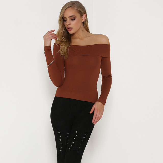 bf6c96e1a38 WLKE Women Off One Shoulder Tops Autumn Long Sleeve Brown Slim Stretch  Casual T-shirts